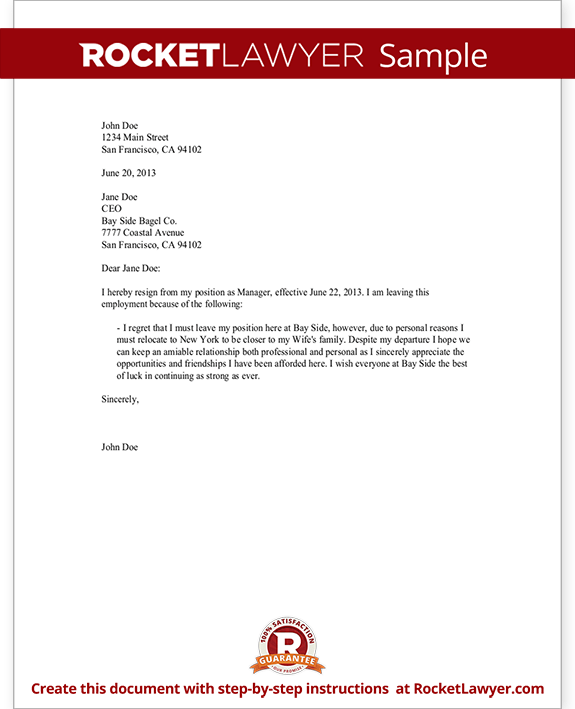 resignation letter write a letter of resignation with sample
