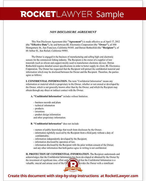 Sample Non-Disclosure Agreement Form Template
