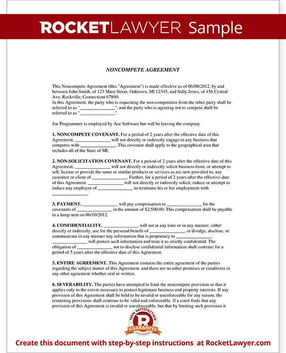 Sample Noncompete Agreement Form Template