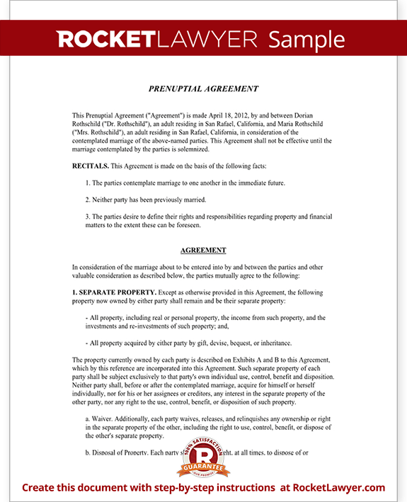 Sample Prenuptial Agreement Form Template