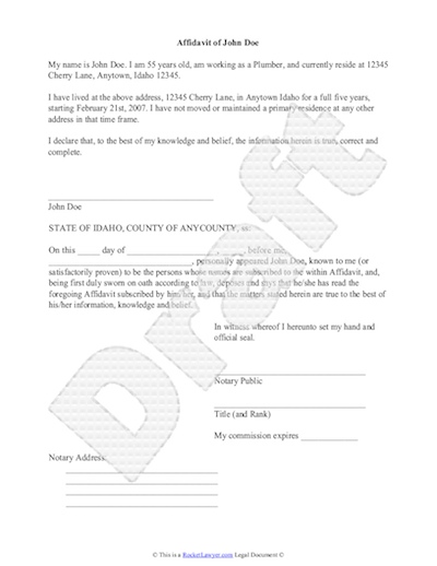 Sworn affidavit form template sample affidavit free sworn affidavit letter template format altavistaventures Gallery