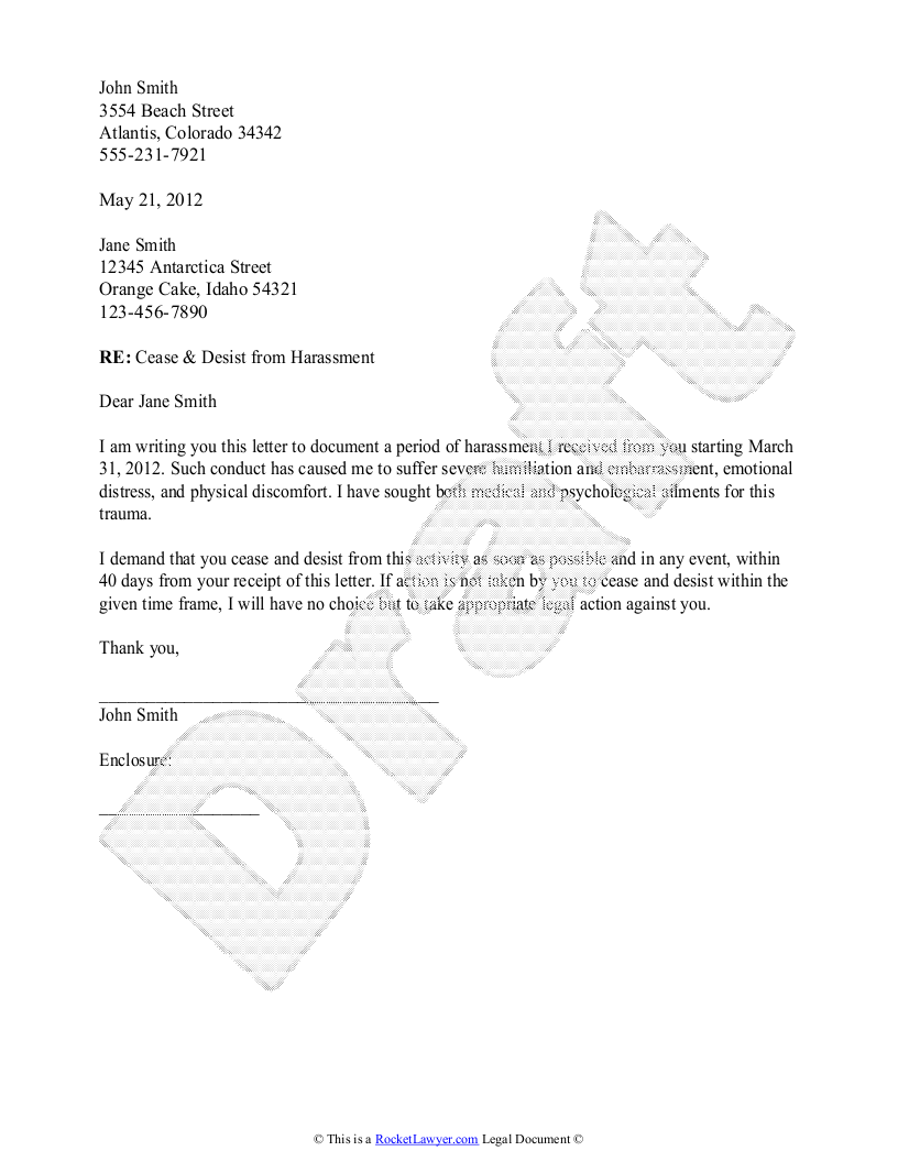 Sample cease and desist letter. To create your own cease and desist ...