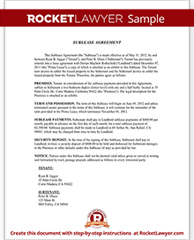 Sample Sublease Agreement