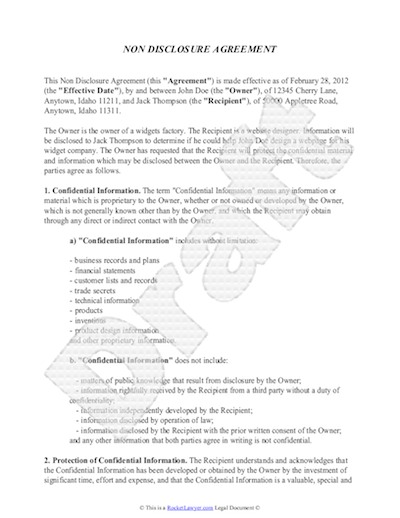 non disclosure agreement template free sample nda template