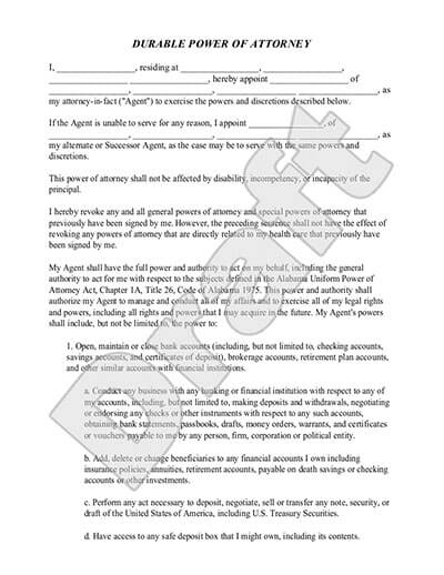 Sample Durable Power of Attorney document preview