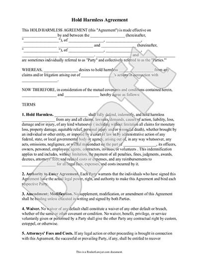 Sample Hold Harmless Agreement document preview