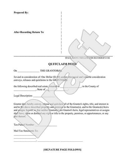 Sample Quitclaim Deed document preview