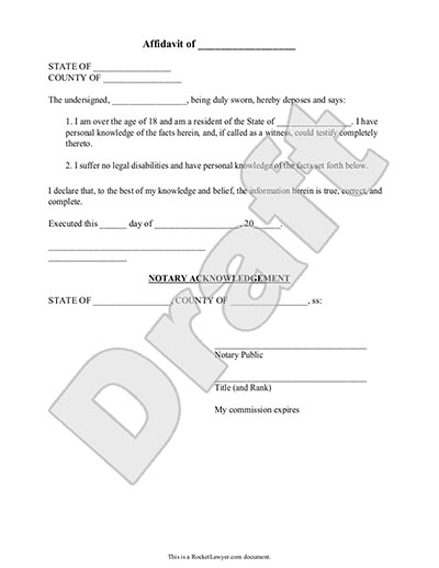 Sample Affidavit Form Template