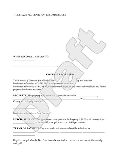 Sample Contract for Deed Form Template