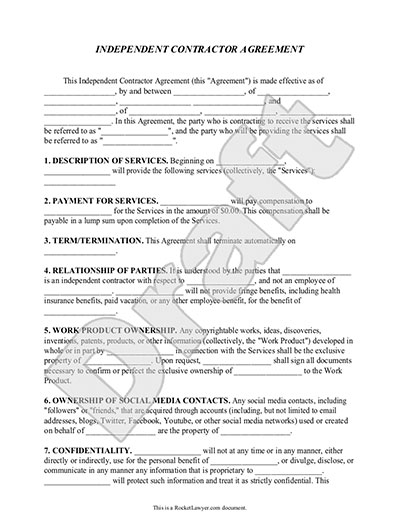 Independent contractor agreement form template with sample for Builder contract for new home