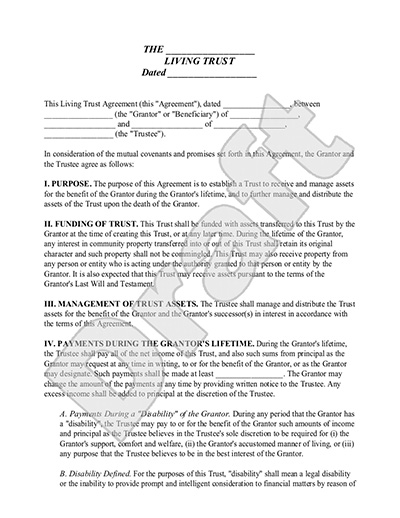 Sample Living Trust Form Form Template
