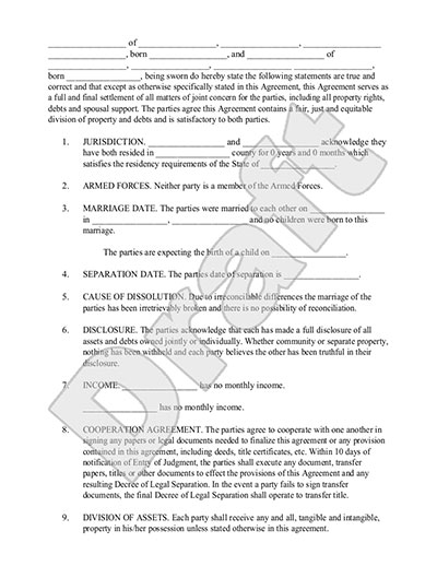 Sample Marriage Separation Agreement Form Template