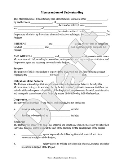 Sample Memorandum of Understanding Form Template