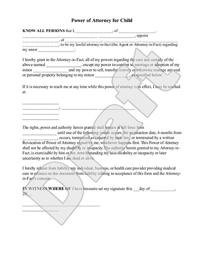 Sample Power of Attorney for Child Form Template