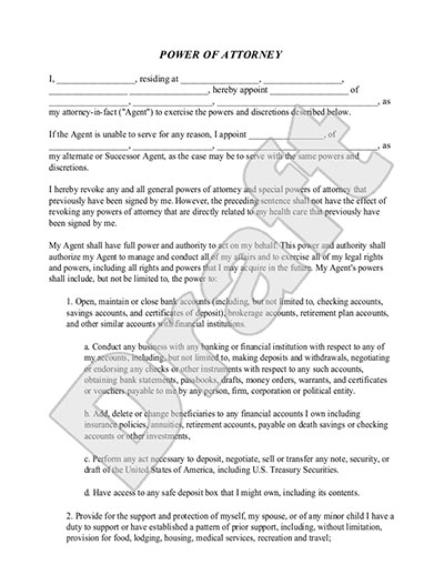 Sample Power of Attorney Form Template