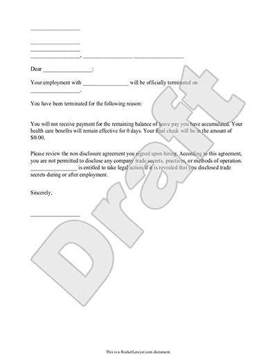 Sample Termination Letter Form Template