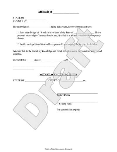 Affidavit Form General Affidavit Template Rocket Lawyer