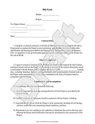 Sample Bid Form Document Preview  Free Construction Proposal Template