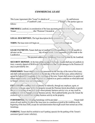 Commercial Lease Agreement  Lease Form With Sample