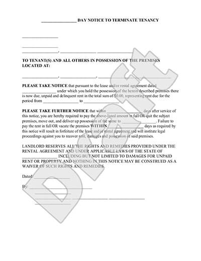 Eviction Notice Form 30 Days Or Less Notice To Vacate Quit Template
