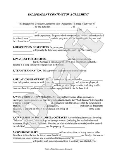 Independent Contractor Form 1099 Contractor Agreement Rocket Lawyer
