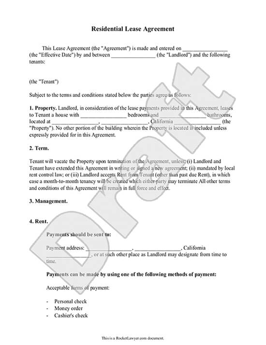 Lease Agreement Form Free Residential Rental Contract Template