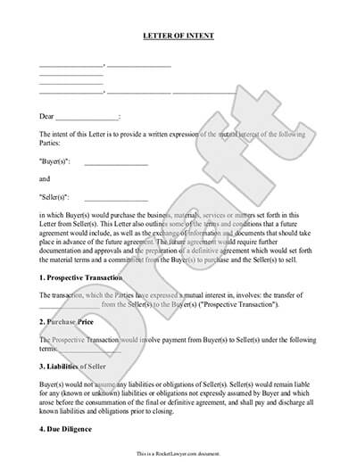 Letter Of Intent For Business, Purchase - Sample, Template