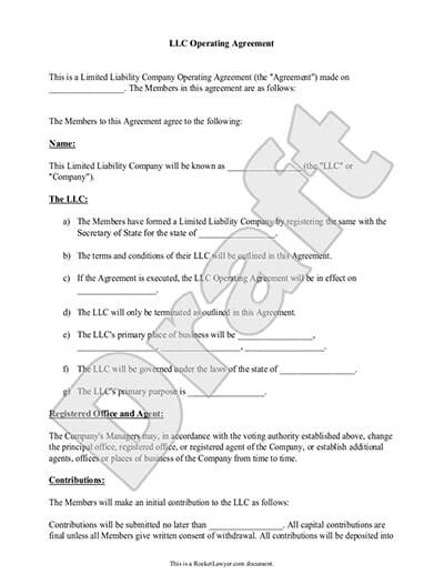 operating agreement for llc sample