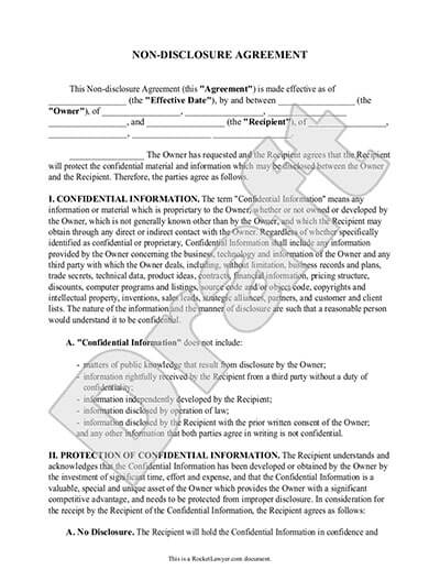 Sample Non Disclosure Agreement Document Preview