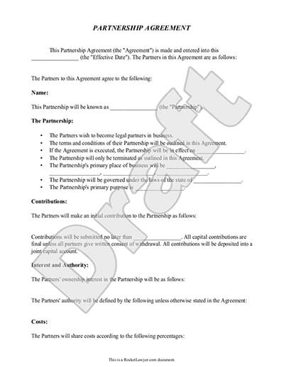 Sample Partnership Agreement Document Preview  Free Business Agreement Template