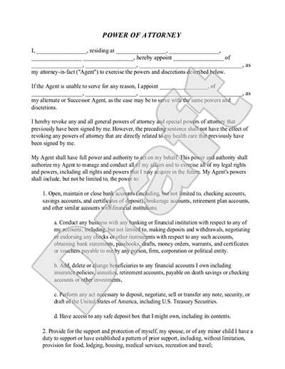 Sample Power of Attorney document preview