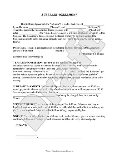 Sublease Agreement Form Sublet Contract Template with Sample