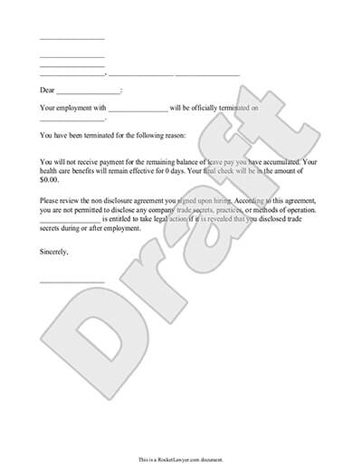 Sample Termination Letter Document Preview  Employee Termination Letter Format