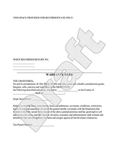 Sample Warranty Deed document preview