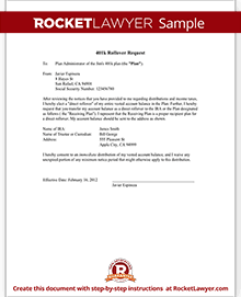 Request 401k Rollover To Roth IRA New Employer Letter