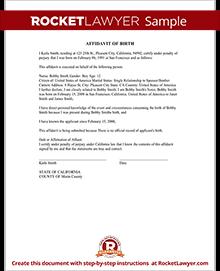 Sample Affidavit Of Birth