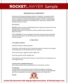 Business sale agreement contract form with template sample accmission Choice Image