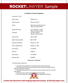 Certificate of final completion form for construction project sample certificate of final completion yadclub Images