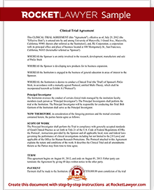 Clinical Trial Agreement Template Rocket Lawyer
