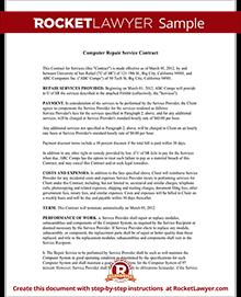 computer repair contract templates