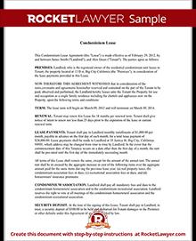 condo lease template
