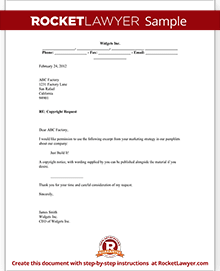 Copyright request letter form with sample sample copyright request spiritdancerdesigns Choice Image