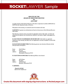 corporate minutes corporate minutes template with sample