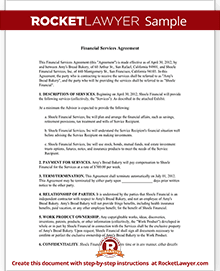 financial agreement template Financial Services Agreement Contract with Sample