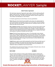 Joint Venture Agreement Template Rocket Lawyer