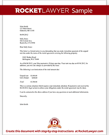 Sample Late Rent Notice  Eviction Warning Letter