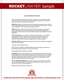 Lease Purchase Agreement Lease To Own Rocket Lawyer