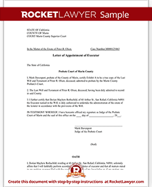 Amazing Sample Letter Of Appointment Of Executor With Letter Of Appointment