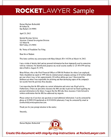 Sample Letter To Notify The IRS Of A Fraudulent Tax Filing