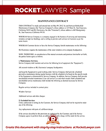 Sample Maintenance Contract Within Maintenance Contract Sample
